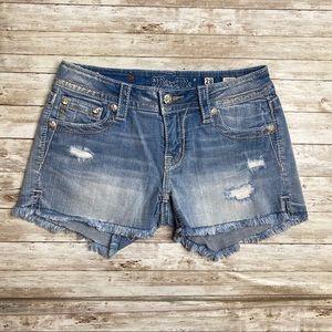 Miss Me Distressed Cut Off Jean Shorts